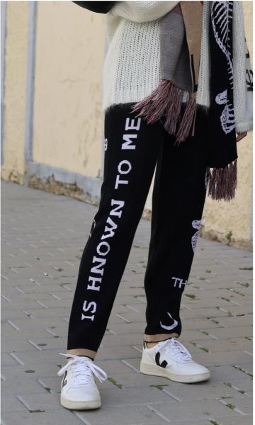 ME369 Strickhose Darcy Schwarz mit Print