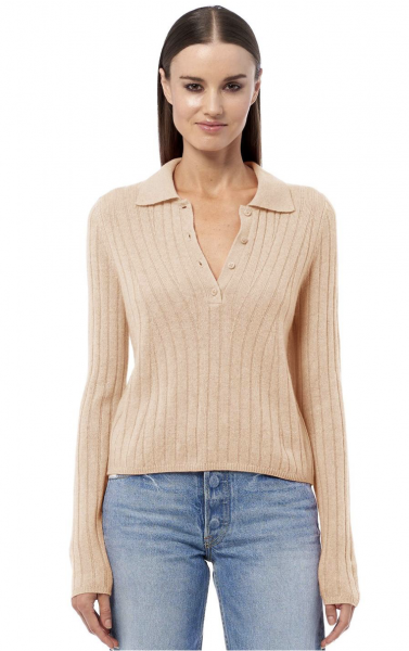 360CASHMERE Polo-Pullover Ryder in camel