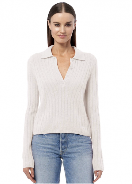 360CASHMERE Polo-Pullover in Alabaster